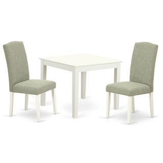 Square 36 Inch Table and Parson Chairs in Dark Shitake Linen Fabric (Number of Chairs Option)