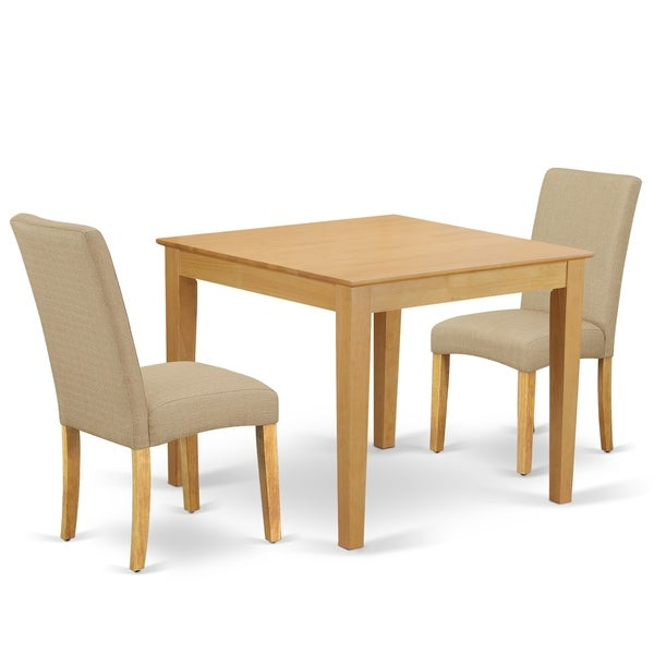 Square 36 Inch Table and Parson Chairs in Dark Khaki Linen Fabric (Number of Chairs Option)