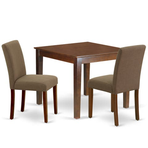 Square 36 Inch Table and Parson Chairs in Coffee Linen Fabric (Number of Chairs Option)