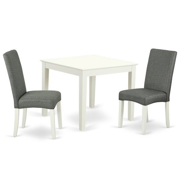 Square 36 Inch Table and Parson Chairs in Gray Linen Fabric (Number of Chairs Option)