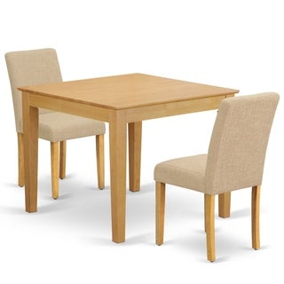 Square 36 Inch Table and Parson Chairs in Light Fawn Linen Fabric (Number of Chairs Option)