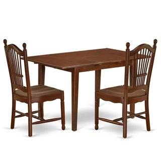Rectangle 48/60 Inch Kitchen Table and Wood Seat Dining Chairs in Mahogany Finish (Number of Chairs Option)
