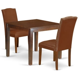Square 36 Inch Table and Parson Chairs in Brown Faux Leather (Number of Chairs Option)