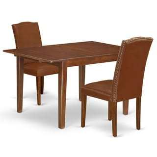 Rectangle 42/53.5 Inch Table and Parson Chairs in Brown Faux Leather (Number of Chairs Option)
