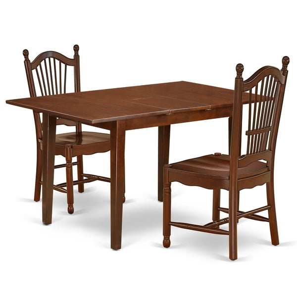 Rectangle 42/53.5 Inch Table and Wood Seat Chairs in Mahogany Finish (Number of Chairs Option)