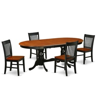 Oval 60/78 Inch Table and Wood Seat Chairs in Black and Cherry Finish (Number of Chairs Option)