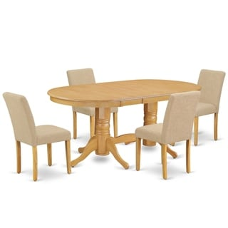 Oval 59/76.4 Inch Table and Parson Chairs in Light Fawn Linen Fabric (Number of Chairs Option)