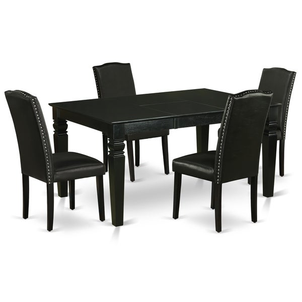 Rectangle 42/60 Inch Table and Parson Chairs in Black PU Leather (Number of Chairs Option)