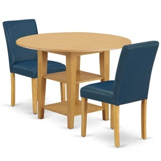 Round 20/42 Inch Table and Parson Chairs in Oasis PU Leather (Number of Chairs Option)