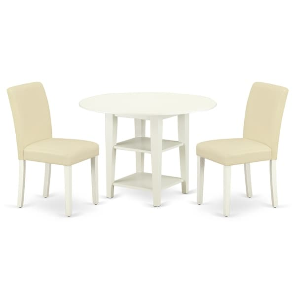 Round 20/42 Inch Table and Parson Chairs in White PU Leather (Number of Chairs Option)