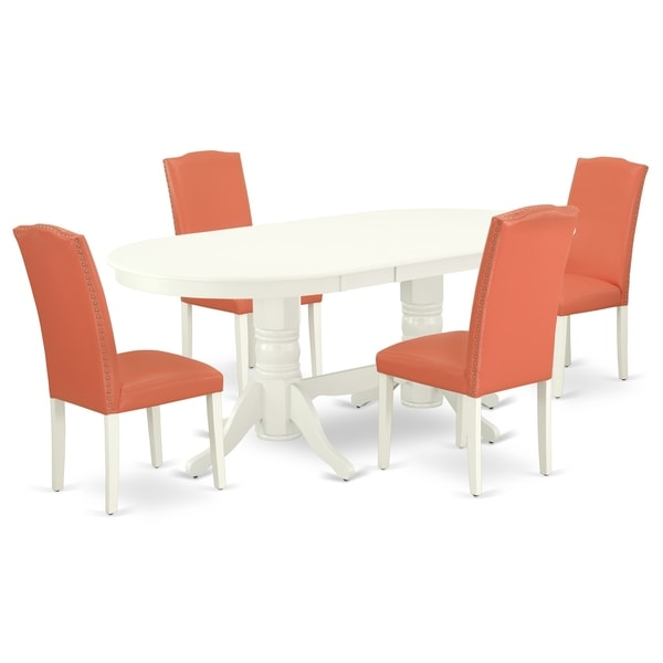 Oval 59/76.4 Inch Table and Parson Chairs in Pink Flamingo PU Leather (Number of Chairs Option)