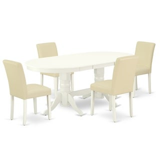 Oval 59/76.4 Inch Table and Parson Chairs in White PU Leather (Number of Chairs Option)