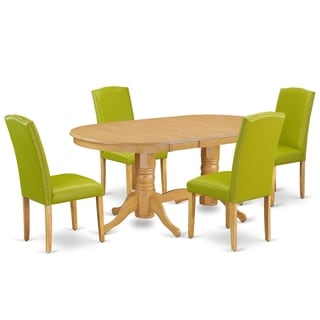 Oval 59/76.4 Inch Table and Parson Chairs in Autumn Green PU Leather (Number of Chairs Option)