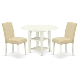 Round 20/42 Inch Table and Parson Chairs in Light Beige Linen Fabric (Number of Chairs Option)