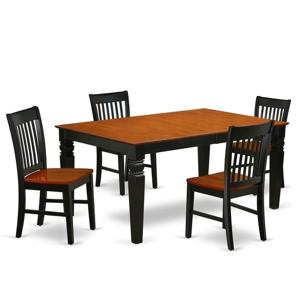 Rectangle 42/60 Inch Table and Wood Seat Chairs in Black and Cherry Finish (Number of Chairs Option)