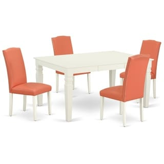 Rectangle 42/60 Inch Table and Parson Chairs in Pink Flamingo PU Leather (Number of Chairs Option)