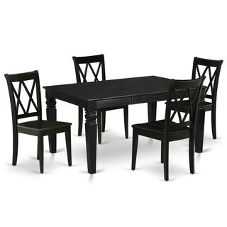 Rectangle 42/60 Inch Table and Wood Seat Kitchen Chairs in Black Finish (Number of Chairs Option)