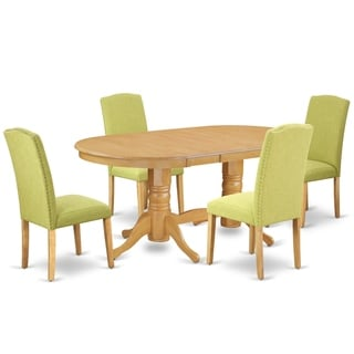 Oval 59/76.4 Inch Table and Parson Chairs in Limelight Linen Fabric (Number of Chairs Option)