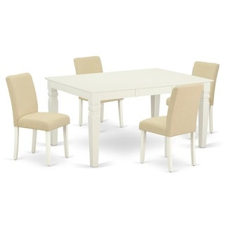 Rectangle 42/60 Inch Table and Parson Chairs in Light Beige Linen Fabric (Number of Chairs Option)