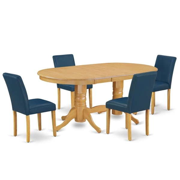 Oval 59/76.4 Inch Table and Parson Chairs in Oasis PU Leather (Number of Chairs Option)