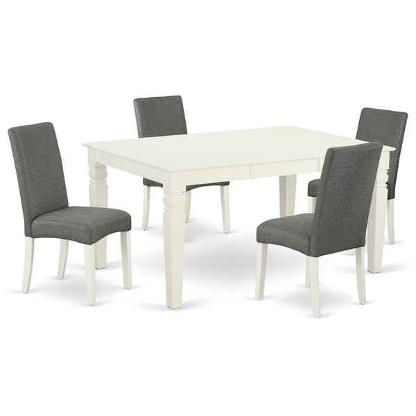 Rectangle 42/60 Inch Table and Parson Chairs in Gray Linen Fabric (Number of Chairs Option)