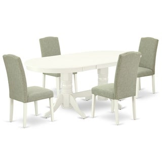 Oval 59/76.4 Inch Table and Parson Chairs in Dark Shitake Linen Fabric (Number of Chairs Option)
