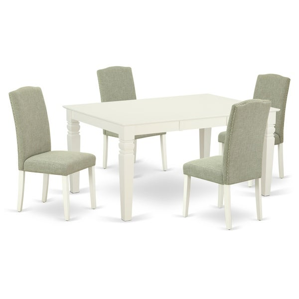 Rectangle 42/60 Inch Table and Parson Chairs in Dark Shitake Linen Fabric (Number of Chairs Option)
