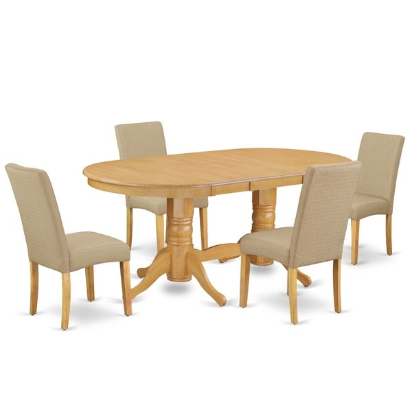 Oval 59/76.4 Inch Table and Parson Chairs in Dark Khaki Linen Fabric (Number of Chairs Option)