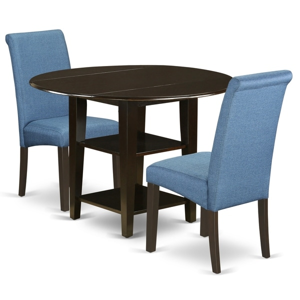Round 20/42 Inch Table and Parson Chairs in Blue Linen Fabric (Number of Chairs Option)