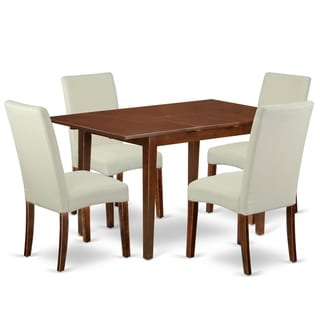 Rectangle 48/60 Inch Kitchen Table and Parson Chairs in Cream Linen Fabric (Number of Chairs and Bench Option)