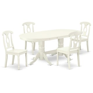 Oval 59/76.4 Inch Table and Wood Seat Kitchen Chairs in Linen White Finish (Number of Chairs Option)