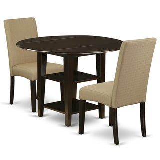 Round 20/42 Inch Table and Parson Chairs in Brown Linen Fabric (Number of Chairs Option)