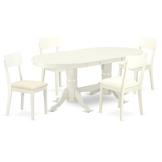 Oval 59/76.4 Inch Table and Faux Leather Seat Chairs in Linen White Finish (Number of Chairs Option)
