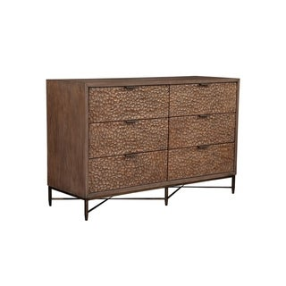 Alpine Furniture Brown Pearl 6 Drawer Dresser, Brown Bronze
