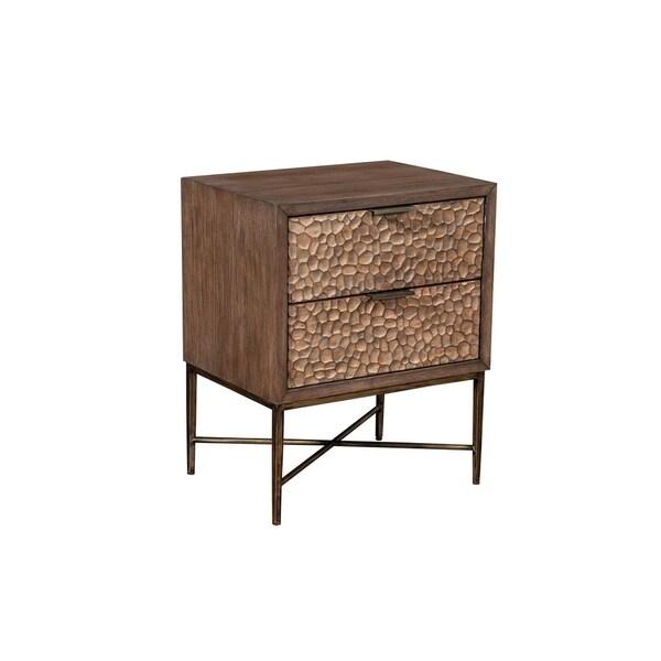 Alpine Furniture Brown Pearl 2 Drawer Nightstand, Brown Bronze