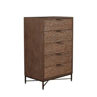 Alpine Furniture Brown Pearl 5 Drawer Chest, Brown Bronze