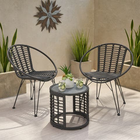 Perkins Outdoor Modern Boho 2 Seater Wicker Chat Set with Side Table by Christopher Knight Home