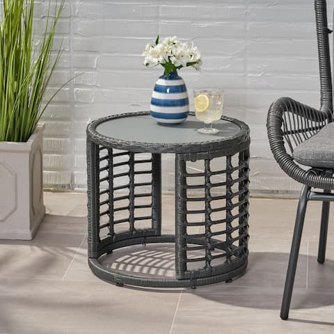 Tatiana Outdoor Modern Boho Wicker Side Table with Tempered Glass Top by Christopher Knight Home