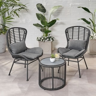 Olvera Outdoor Modern Boho 2 Seater Wicker Chat Set with Side Table by Christopher Knight Home