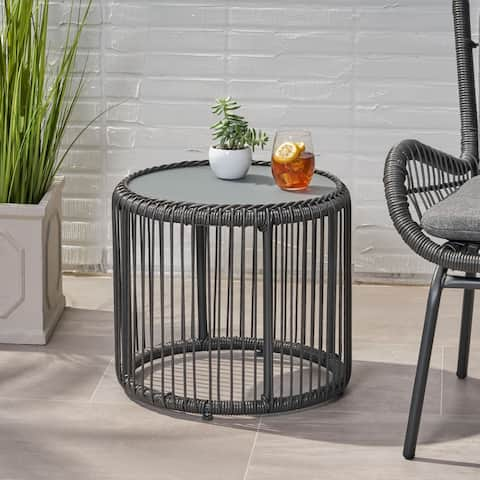 Pabrico Outdoor Wicker Side Table with Tempered Glass Top by Christopher Knight Home