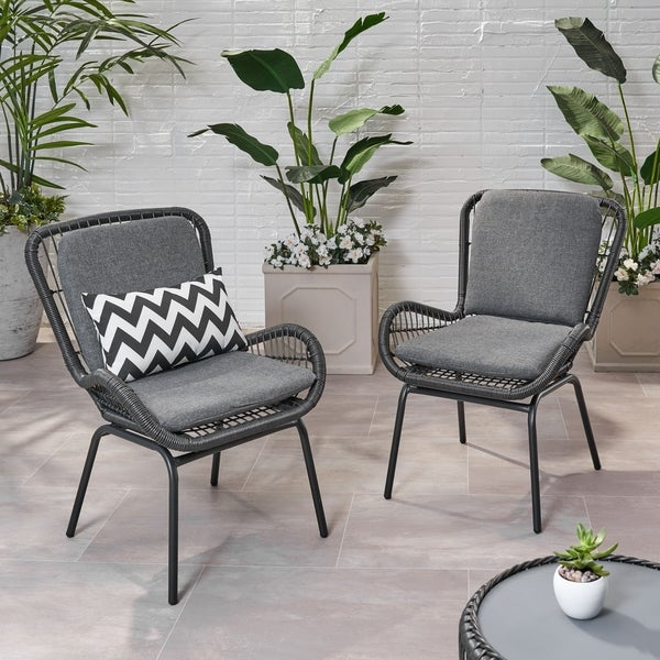 Pabrico Outdoor Wicker Club Chair with Cushions (Set of 2) by Christopher Knight Home. Opens flyout.