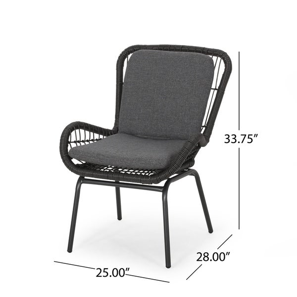Pabrico Outdoor Wicker Club Chair with Cushions (Set of 2) by Christopher Knight Home