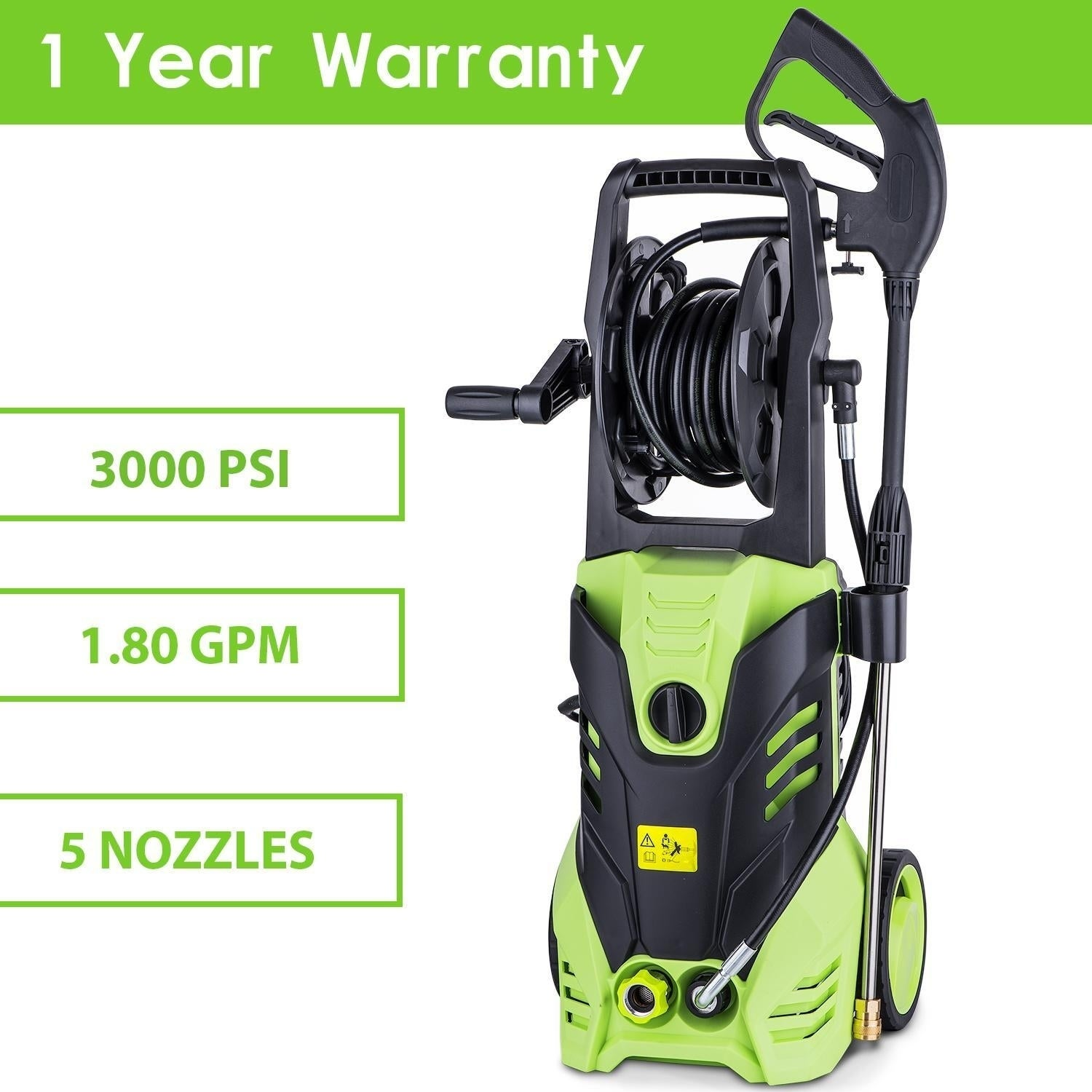 Homdox 3000PSI Electric High Pressure Cleaner Reel Style Cleaning Machine (Green)