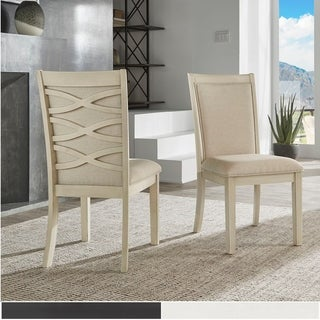 Link to Laxman Satin Ebony or Dove White Upholstered Back Dining Chair (Set of 2) by iNSPIRE Q Modern Similar Items in Dining Room & Bar Furniture