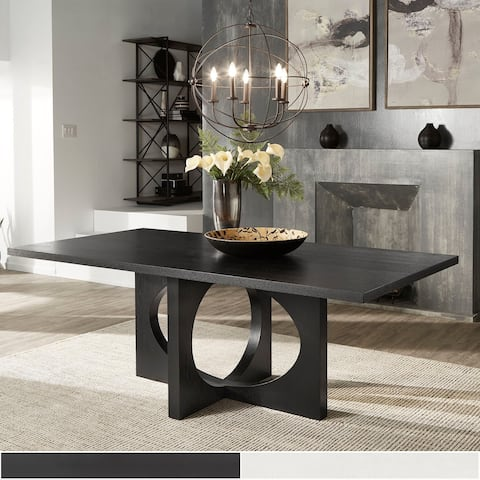 Laxman Satin Ebony or Dove white Finish Dining Table by iNSPIRE Q Modern