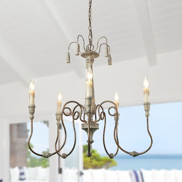 The Gray Barn Ingleside 5-light Distressed Wood Chandelier