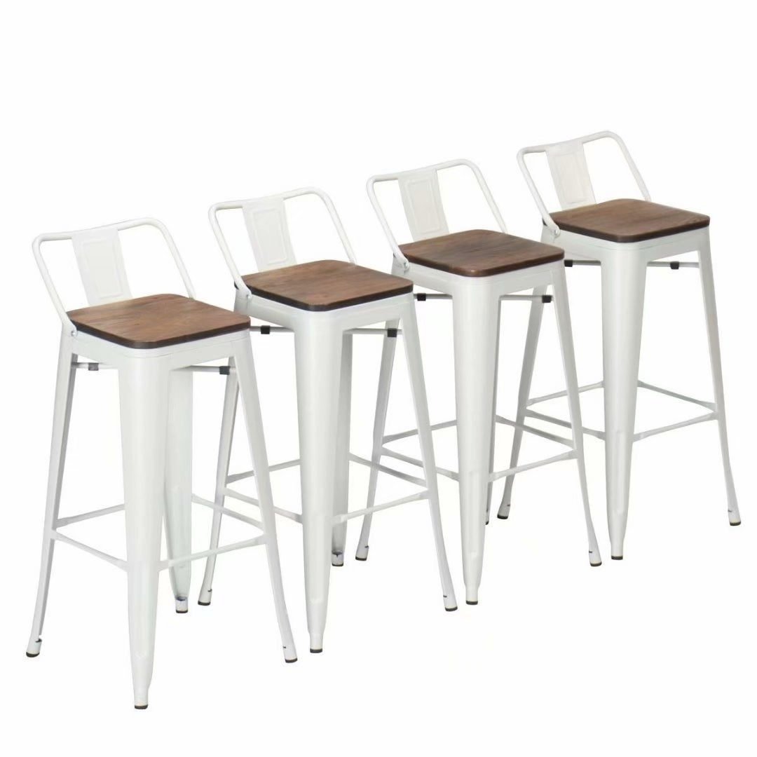 Excellent Andeworld Metal Height Bar Stool Pack Of 4 White Wooden Low Back 24 Caraccident5 Cool Chair Designs And Ideas Caraccident5Info
