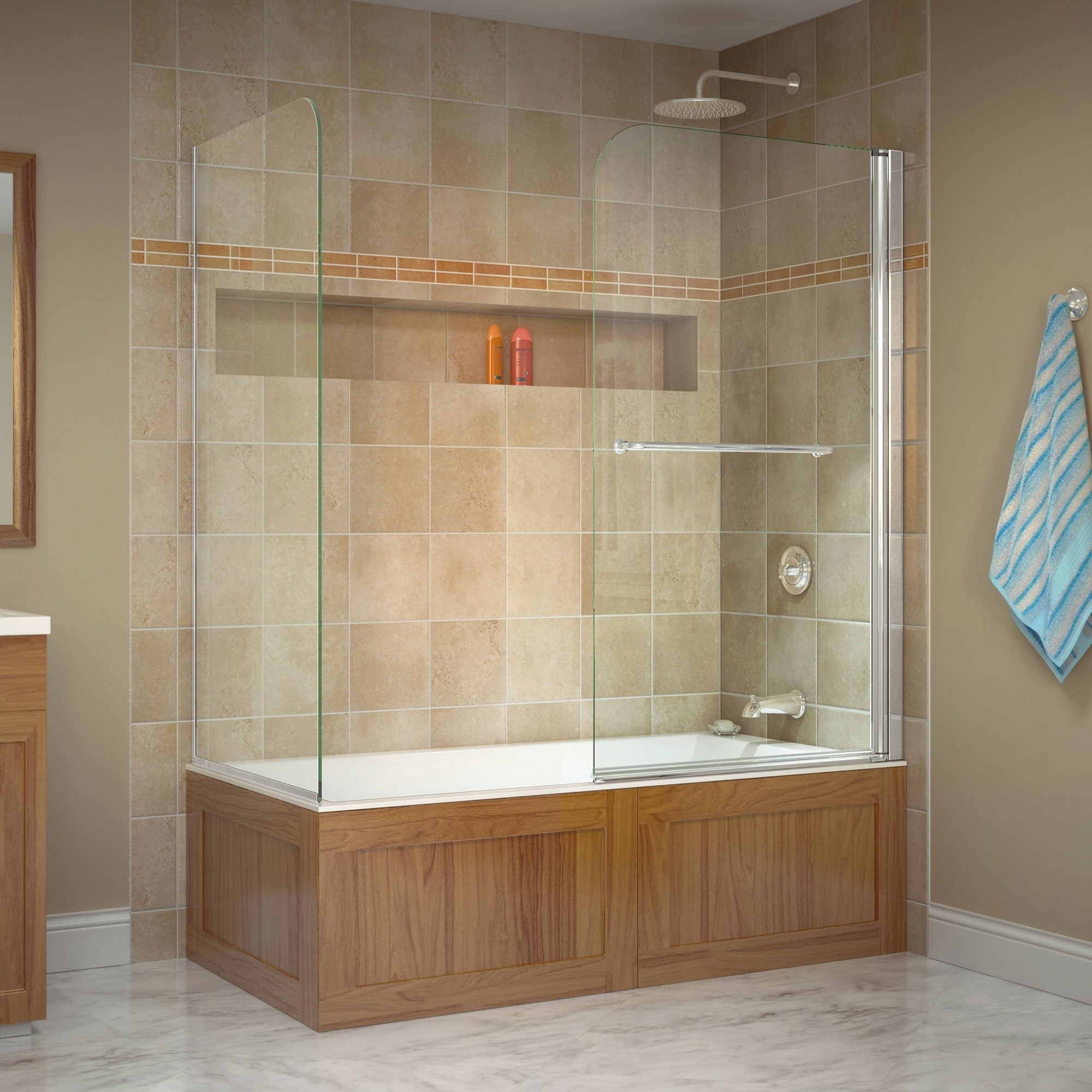 Dreamline Aqua Swing 56 60 In W X 30 In D X 58 In H Tub Door With Return Panel 30 X 56 60