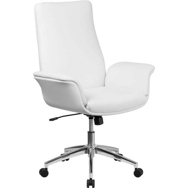 Offex Mid Back White Leather Executive Swivel Office Chair with Flared Arms