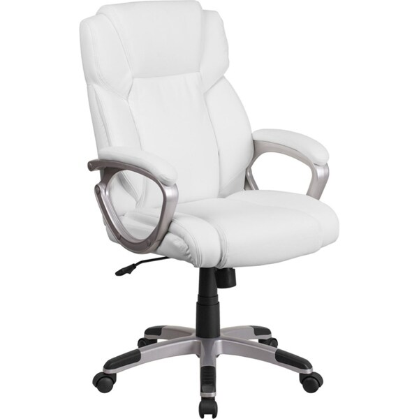 Offex Mid Back White Leather Executive Swivel Office Chair with Padded Arms